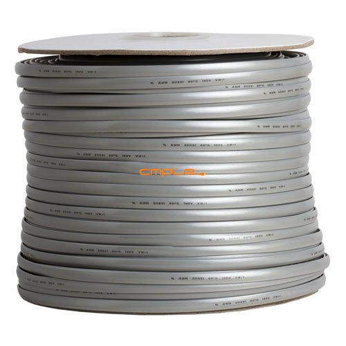 Cmple - Phone Cable FLAT 8 Wire, Solid, Silver - 1000ft, 26AWG