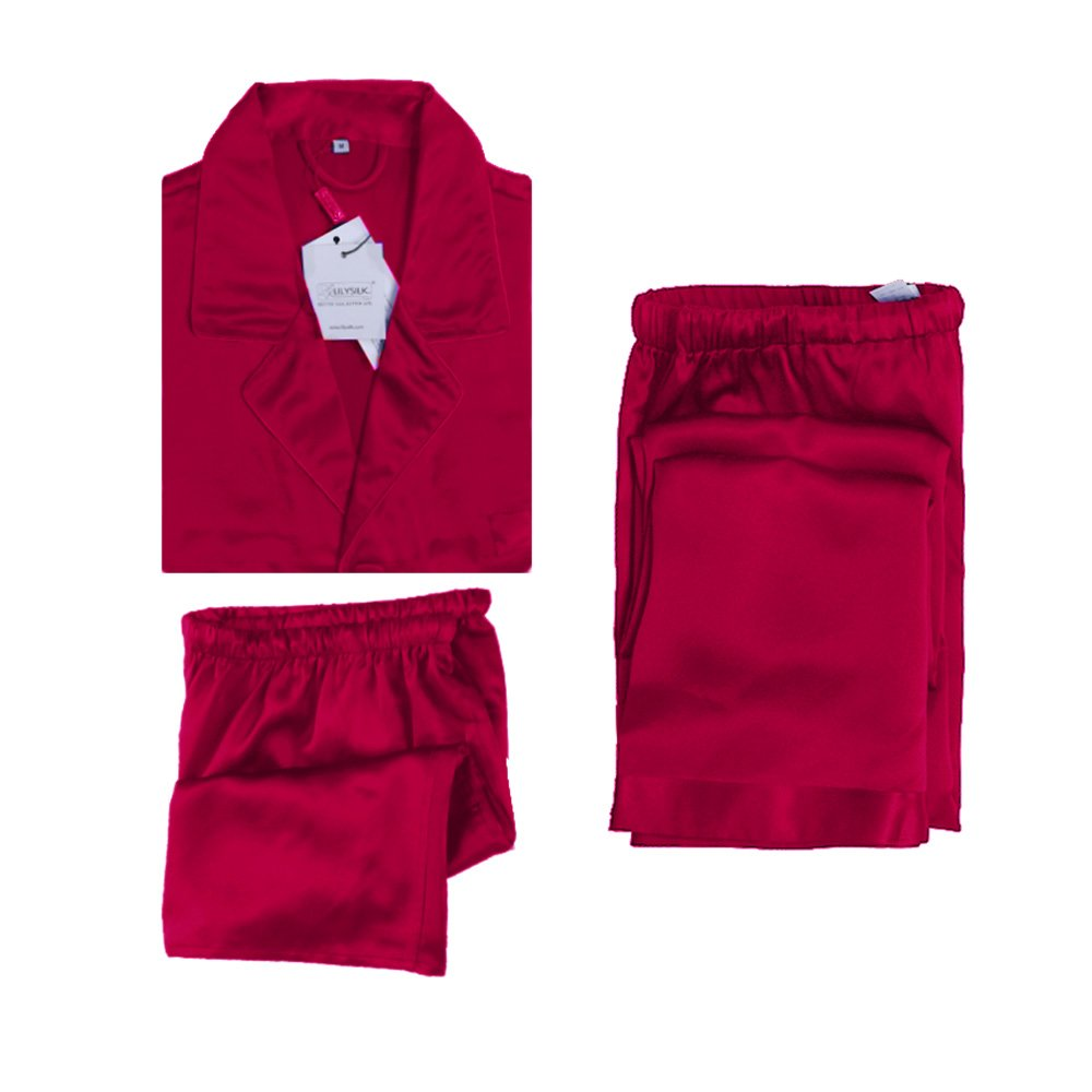 LilySilk Pure 100 Silk Pajama Set 3 Pcs For Men Classic Style 22 Momme For Lounge Claret 36/S