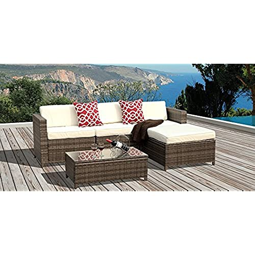 Superieur PATIOROMA 5pc Outdoor PE Wicker Rattan Sectional Furniture Set With Cream  White Seat And Back Cushions, Red Throw Pillows, Steel Frame, Gray