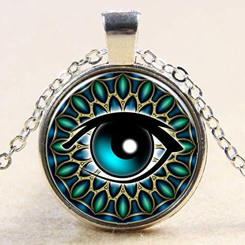 FidgetKute Hamsa Evil Eye Glass Photo Art Pendant Chain Amulet Necklace Fashion Jewelry Silver