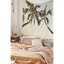 """Tropical Palm Coconut Tree Nature Sea Ocean Hawaii Beach Scenic Tapestry Wall Hanging Summer Paradise Wall Decor Art for Living Room Bedroom Dorm Decoration 58""""H x 78""""W"""