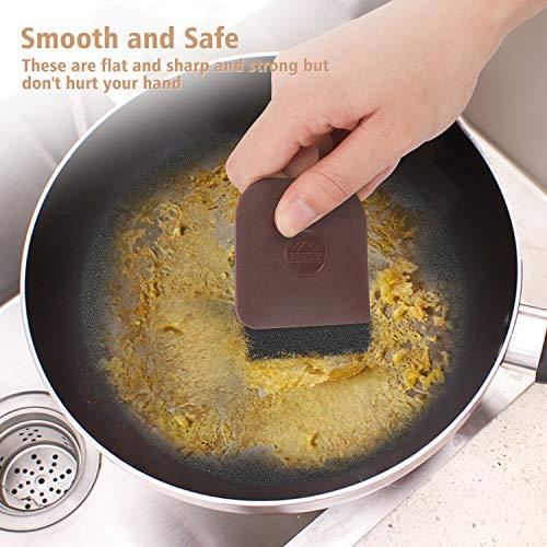FENDIC Pan Scraper, 3pcs Durable Dish Scraper, Pot Scraper, Plastic Scrubbers for Pans, Multifunctional Pan Scraper Tool and Stoneware Scraper for Kitchen and Home - Brown
