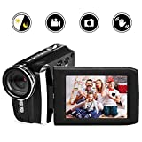 Video Camera Camcorder Vmotal HD 1080P 12.0MP 2.8 Inch LCD 270 Degrees Rotatable Screen 8X Digital Zoom Camera Recorder YouTube Vlogging Camera with Rechargable Battery (Black)