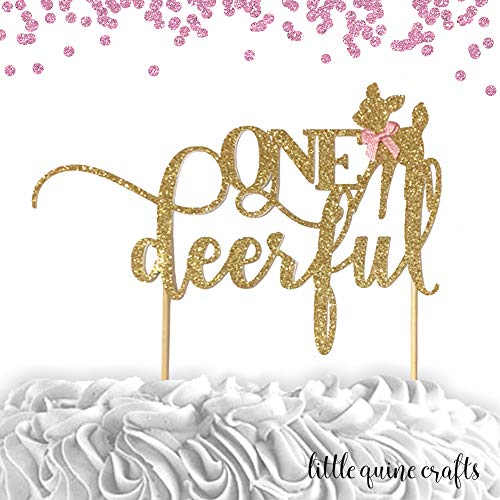 1 pc ONEdeerful script baby deer fawn Gold Glitter Cake Topper for first Birthday girl cake smash party deer woodland bohemian native tribal