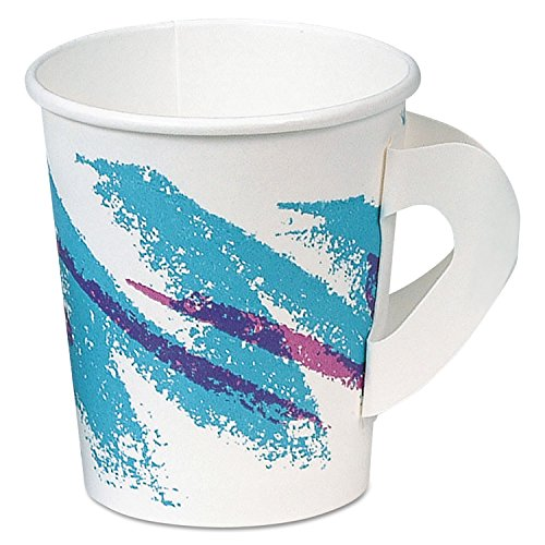 Jazz Hot Paper Cups With Handles, 6oz., Polycoated, Jazz Design, 50/bag, 20/ct
