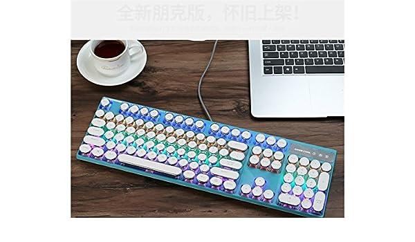 Arbre Computadora Teclado de Juego mecánico retroiluminado Teclas estándar Teclado USB Vintage (Azul + Blanco) Regalo: Amazon.es: Hogar