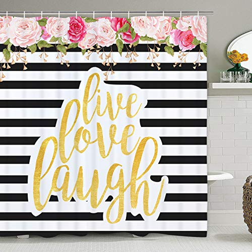Pink Rose and Stripe Shower Curtain with 12 Hooks Flowers and Live Love Laugh Shower Curtain for Bathroom, Polyester Waterproof Fabric Shower Curtain (Pink Curtain Stripe)