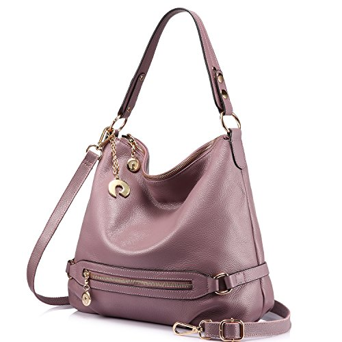 (Genuine Leather Handbags for Women Large Designer Ladies Shoulder Bag Bucket Style [Pale Pinkish Purple ] )
