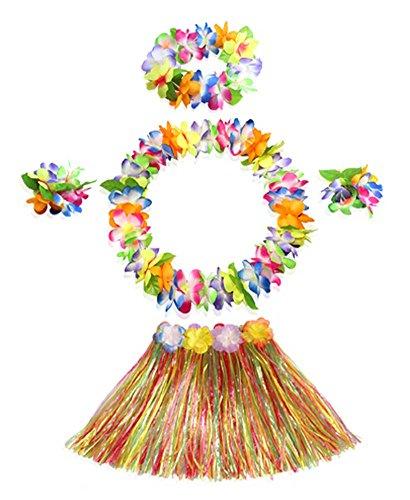 [Kids Unique Hawaiian Dress Hula Dancer Grass Skirt Costume Set] (Hawaiian Hula Outfits)