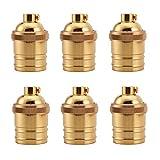 iSunMoon 6 Pack Screw Thread Keyless Brass Light Socket - Polished Solid Brass Finish - 1/8 IPS With Screw Set - Retro Vintage Brass Light Socket - Edison Pendant Light Socket