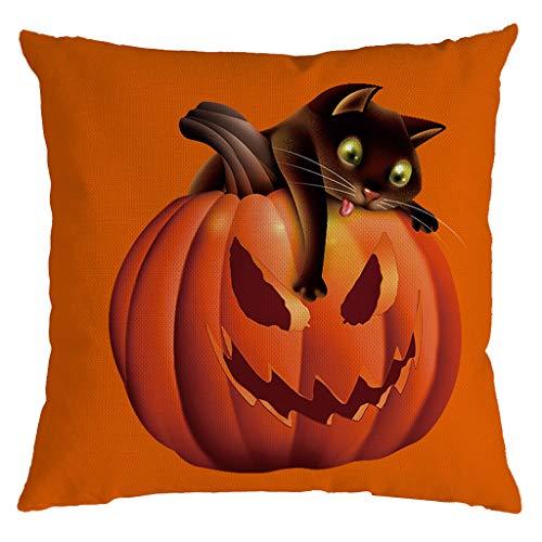 Aqua Halloween Lyrics (Unionm 42# Pillow Covers Decorative Throw Pillow Case Linen Halloween Theme Pumpkin Printed 45cm x 45cm 18 x 18 inches Cushion Cover for Home Sofa Car 1)