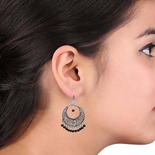 Efulgenz Indian Vintage Retro Ethnic Dangle Gypsy Oxidized Silver Tone Boho Hook Earrings for Girls and Women Love Gift by Efulgenz (Image #2)