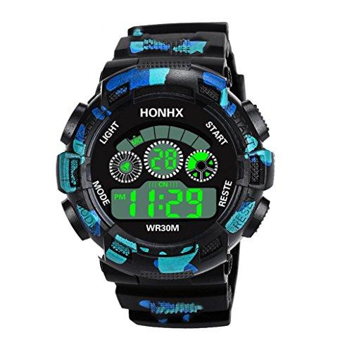 Staron® Mens Watch, Luxury Men Analog Digital Military Sport Wrist Watch LED Waterproof Sports Watch (B) (Mens Resin Stopwatch)