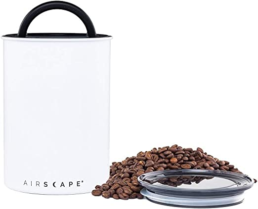 Airscape Coffee and Food Storage Canister - Patented Airtight Lid Preserve Food Freshness, Stainless Steel Food Container, Matte White, Medium 7-Inch Can