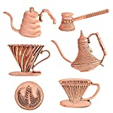 6 pcs Antique Copper Coffee Series Metal Brooch Pin Set, Lapel Pins Badge for Barista and Coffee Lovers