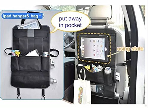 Car Back Seat Organizer & Car Seat Protector with 9-compartments for kids Travel Accessories Including Ipad/Tablet Holder. Echo Friendly with Reinforce Material for extra storage by FlowBargains (Image #7)