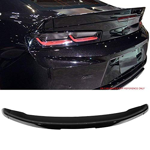 Pre-Painted Trunk Spoiler Fits 2016-2019 Chevy Camaro | Factory Style Flush Mount 3Pc Blade Painted #WA384A Black Meet Kettle Metallic ABS Other Color Available By IKON MOTORSPORTS | 2017 2018