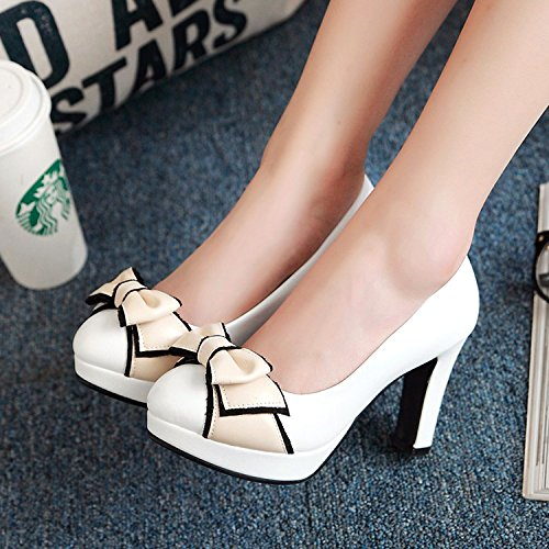 KPHY Korean Girl Shoes All White Single With Asakuchi Thick Shoes Match Shoes Tide Princess Bow Shoes Casual Spring S8xq0wSar
