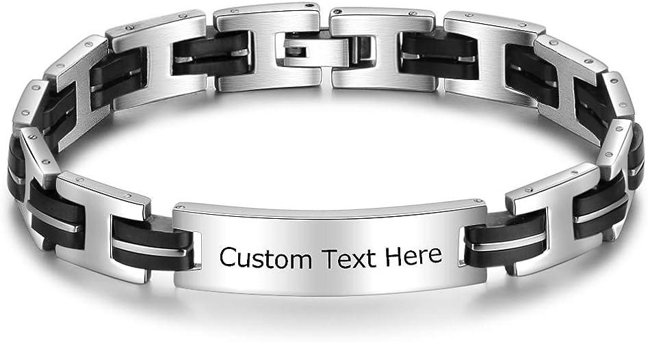 DaMei Personalisierte Armbänder Schmuck Herren Damen Armband mit Gravur Freundschaftsarmband Armband Edelstahl mit Wunschgravur Partnerarmband für