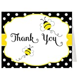 Thank You Cards, Bumble, Bee, Teacher, Baby Shower, Heard the Buzz, Gender Neutral, Girls, Boys, Polka Dots, Yellow, Black, Set of 50 Folding Notes with White Envelopes, Babee on the Way