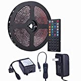 Tingkam Waterproof 5050 SMD 32.8ft (10m) RGB LED Strip Light Kit, Color Changing Black PCB Rope Lights+44-key IR Controller+ Power Supply for Home,Kitchen,Trucks,Sitting Room and Bedroom Decoration.