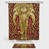 Elephants Decor Shower Curtain And Floor Mat Combination Set Elephant Carved Gold Paint on Door Thai Temple Spirituality Statue Classic For decoration and daily use