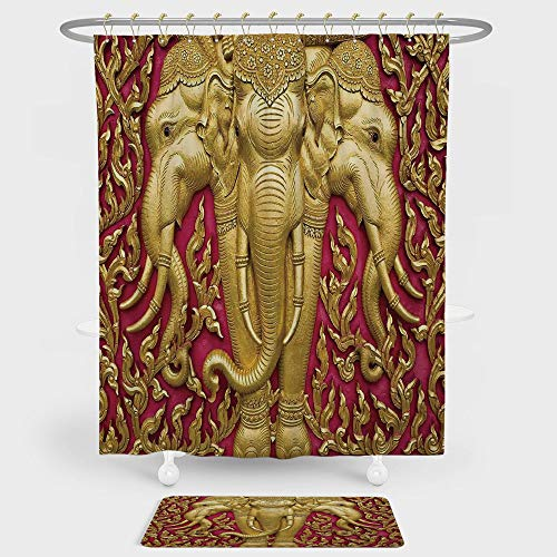Elephants Decor Shower Curtain And Floor Mat Combination Set Elephant Carved Gold Paint on Door Thai Temple Spirituality Statue Classic For decoration and daily use by iPrint