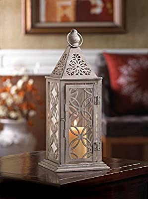 Eclipse Candle Lantern 12 Inch Pewter-Like Finish Metal Frame Candleholder