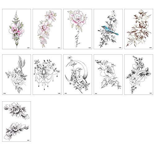11PCS/Package Hand-painted flower arm tattoo stickers Waterproof female long-lasting rose and hummingbird rose stickers Plain flower tattoo stickers