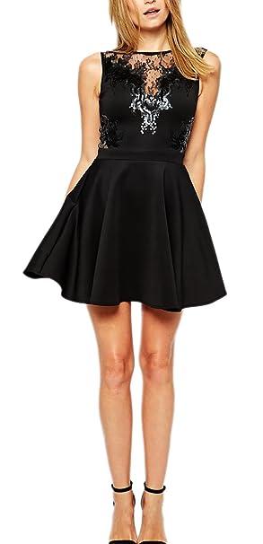 Abito corto donna vestito svasato senza maniche scollatura trasparente sexy  elegante-nero-M  Amazon.it  Abbigliamento c4696273bc5