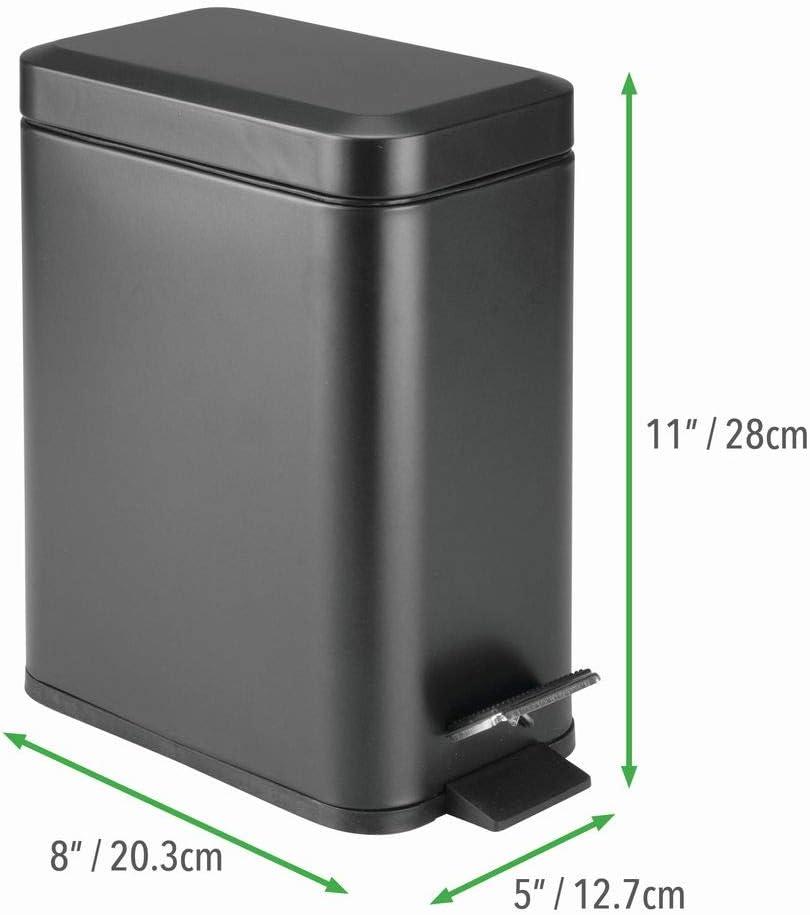 Schlafzimmer oder B/üro moderner Papierkorb aus Edelstahl und Kunststoff dunkelgrau kompakter M/ülleimer mit Inneneimer f/ür das Bad mDesign rechteckiger Tretm/ülleimer mit 5 L Kapazit/ät