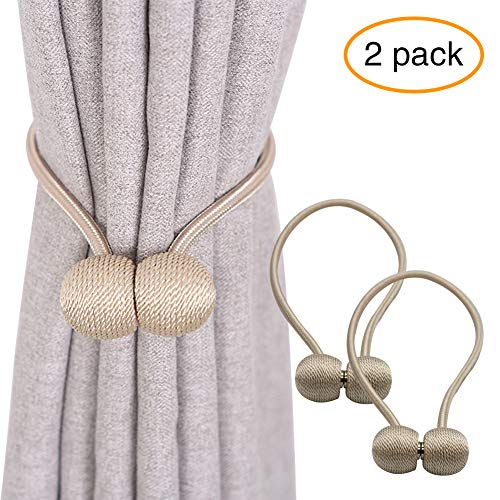 (YOBAYE Magnetic Curtain Tiebacks, 2 Pack Drape Tie Backs Decorative Curtain Rope Holdbacks for Home Kitchen Office Window Drapes, No Drilling & Holes Required,Beige)