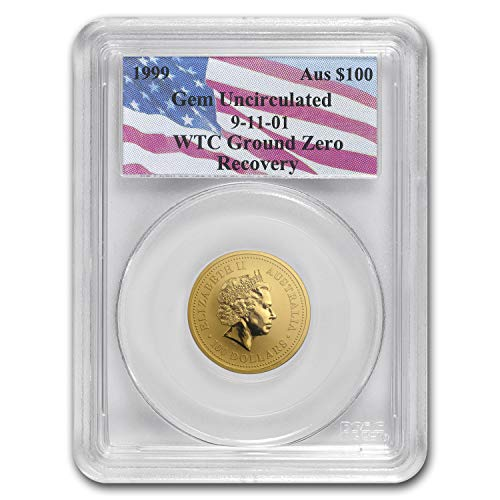 1999 AU Australia 1 oz Gold Nugget Gem Unc PCGS (WTC Ground Zero) 1 OZ About Uncirculated PCGS