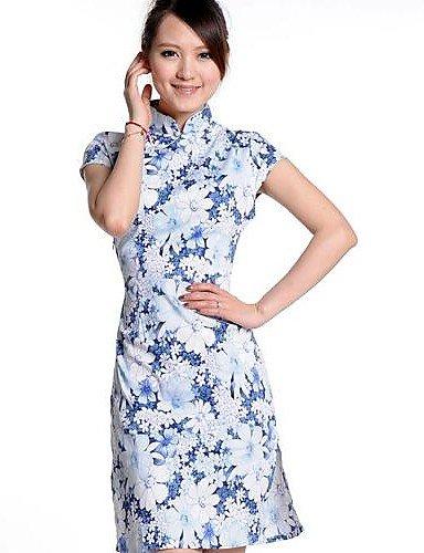 PU&PU Robe Aux femmes Grandes Tailles Vintage , Fleur Mao Au dessus du genou Soie , screen color-l , screen color-l