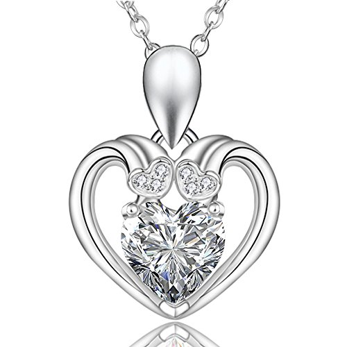 1.5 CT Simulated Diamond Heart Pendant Necklace Sterling Silver Women Necklace By 8Muses, 16""