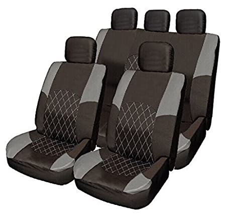 WheelsNBits® 4 colours to choose from Cloth Car Saloon Hatchback Estate Seat Covers Set Split Rear Seat to allow for a 50/50 or 60/40 Rear Seats to fold down 5 head rest. Included Steering Wheel Cover Glove an Shoulder Seat Belt Pads Plus Free Fitting
