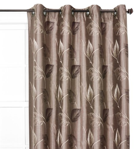 Ellis Curtain Astonish 50 by 84-Inch Embroidered Leaf Grommet Top Lined Window Treatment Panel, Mocha