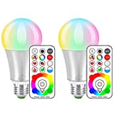 iLC LED Color Changing Light Bulb with Remote Control RGBW - 120 Different Color Choices - RGB Daylight and White Dimmable - Timing Function - A19 E26 Edison Screw, 60 Watt Equivalent(2 Pack)