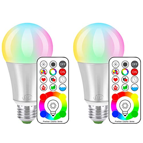 iLC LED Color Changing Light Bulb with Remote Control RGBW - 120 Different Color Choices - RGB Daylight and White Dimmable - Timing Function - A19 E26 Edison Screw, 60 Watt Equivalent(2 Pack) (Christmas Custom Bulbs)