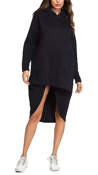 Vestidos con Capucha Mujer Otoño Invierno Manga Larga Pullover Vestidos Asimetricas Elegantes Irregularmente Moda Anchos Casuales Mujeres Sudadera Sudaderas ...