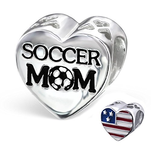 Best Wing Jewelry .925 Sterling Silver Soccer Mom w/American USA Flag on Heart Charm Bead - Football Charm Sterling Silver Jewelry