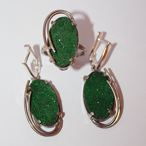 Green garnet crystal druse jewelry set, uvarovite jewelry