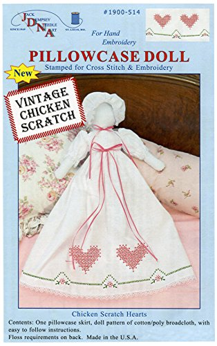 (Jack Dempsey Stamped White Pillowcase Doll Kit, Chicken Scratch Hearts )