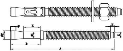 Fixtout Fixtout Epaisseur /à fixer 2 mm INOX A2 5 goujons dancrage M6 x Lt 60 mm
