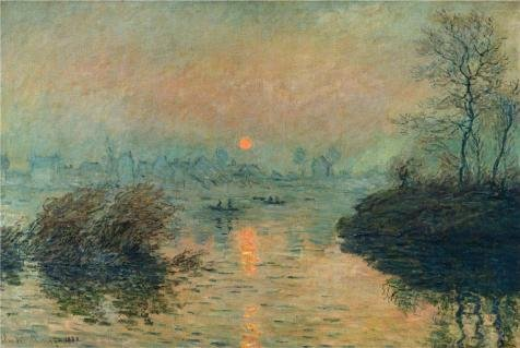 Perfect Effect Canvas ,the High Definition Art Decorative Prints On Canvas Of Oil Painting 'Sunset On The Seine, Winter Effect, 1880 By Claude Monet', 8x12 Inch / 20x30 Cm Is (3d Halloween Wallpaper For Mac)