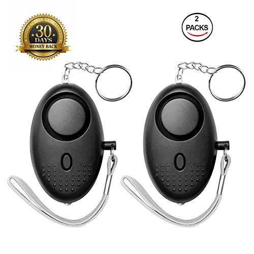 Keychain with Led Light Hacoon Safesound Personal Emergency Alarm Devices in Black for Kids Elderly Women Personal Safety and Self-Defence Alarms with Clip Mini led Flashlight