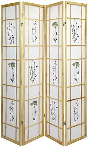 Magshion Oriental Room Divider Hardwood Shoji Screen 4 Panel Small Flowered Natural
