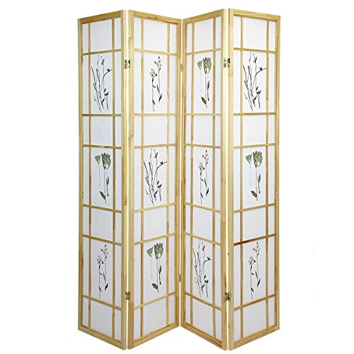 Room Divider Floral Oriental (High Quality Oriental Room Divider Hardwood Shoji Screen (Floral Print-Natural, 4-Panel))