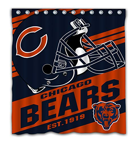 Potteroy Chicago Bears Team Stripe Design Shower Curtain Waterproof Polyester Fabric 66x72 Inches