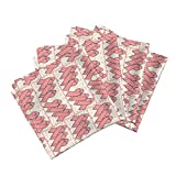 Roostery Pink Linen Cotton Dinner Napkins Pink Awareness Ribbon Fabric by Dogdaze Set of 4 Cotton Dinner Napkins made by